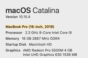My Catalina setup on my MacBook Pro 16inch 2019